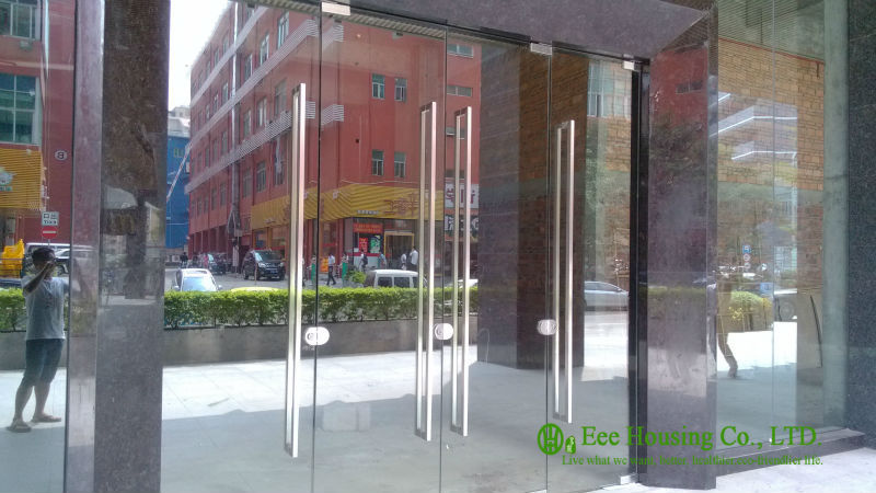 Customized frameless glass door with 12mm tempered clear glass ...