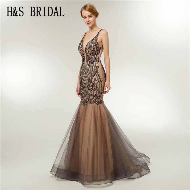 H S BRIDAL Champagne long evening dress luxury dress elegant backless mermaid prom dresses robe de