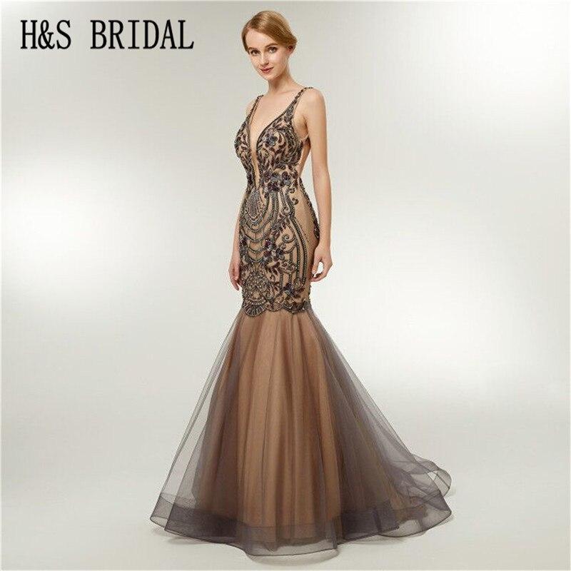 H&S BRIDAL Champagne long   evening     dress   luxury   dress   elegant backless mermaid prom   dresses   robe de soiree 2018