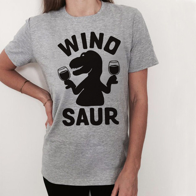 US $5 99 10% OFF|WT0096 Women Funny Drink Wine Glass Dinosaur Print Funny T  shirt Women Vogue Tops -in T-Shirts from Women's Clothing on