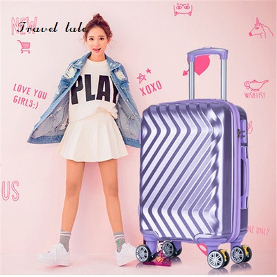 Travel tale Twill fashionable high quality can boarding 20/24 inches PC Rolling Luggage Spinner brand Travel Suitcase travel tale color stitching 20 22 24 26 28 inches abs high quality rolling luggage spinner brand travel suitcase