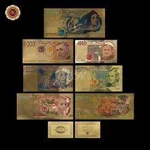 Złoty banknot włochy Lire kolorowa replika pieniędzy włoskie papierowe pieniądze z ramką COA PVC do zbierania i dekoracji