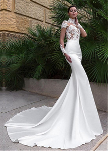 Image 3 - Wonderful Tulle & Satin Illusion High Neckline Mermaid Wedding Dresses With Lace Appliques