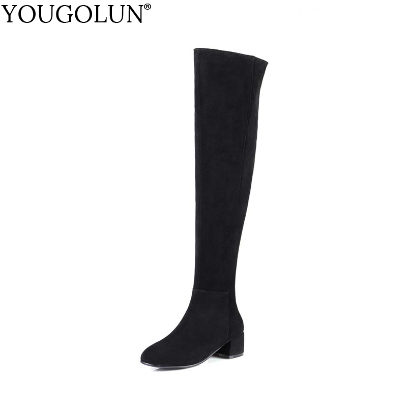 YOUGOLUN Women Boots Thigh High Genuine Winter Cow Suede Black Mid Square Heel 4 cm Nubuck Leather Over the Knee Shoes #Y-154