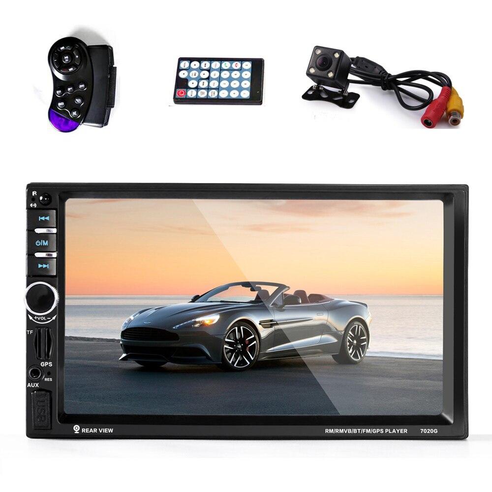 imágenes para Car audio autoradio 2 Din Navegación GPS 7 ''pulgadas LCD de pantalla Táctil de radio auto Estéreo bluetooth reproductor Multimedia de Coche 7020G