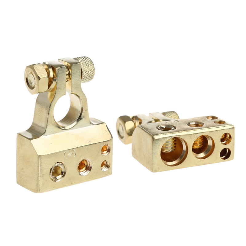 New Arrival 2Pcs Gold Plated Car Battery Terminal Positive Nagative F 0/1 2 4 8 AWG Tool 1 pair practical silver car battery terminal set 2 4 8 gauge awg positive