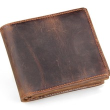 Fashion Men Good Quality Cow Leather Wallet Casual Male Short Style Dermis Card Bags