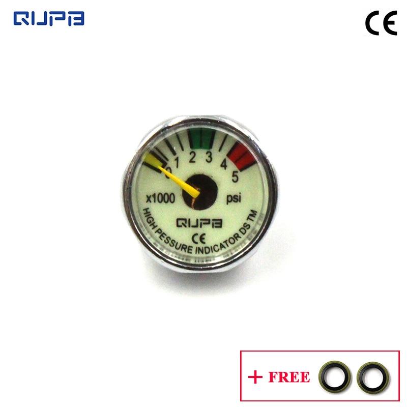 QUPB 1 Inch PCP Paintball Air Pressure Manometre Gauge 5000psi Luminous 1/8 NPT GES004