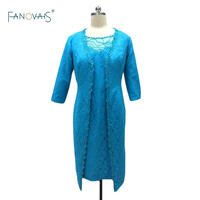 2015 New Plus Size Mid Calf Godmother Dress vestido de festa longo madrinha Lace Mother of the Bride Groom Dresses with Jacket