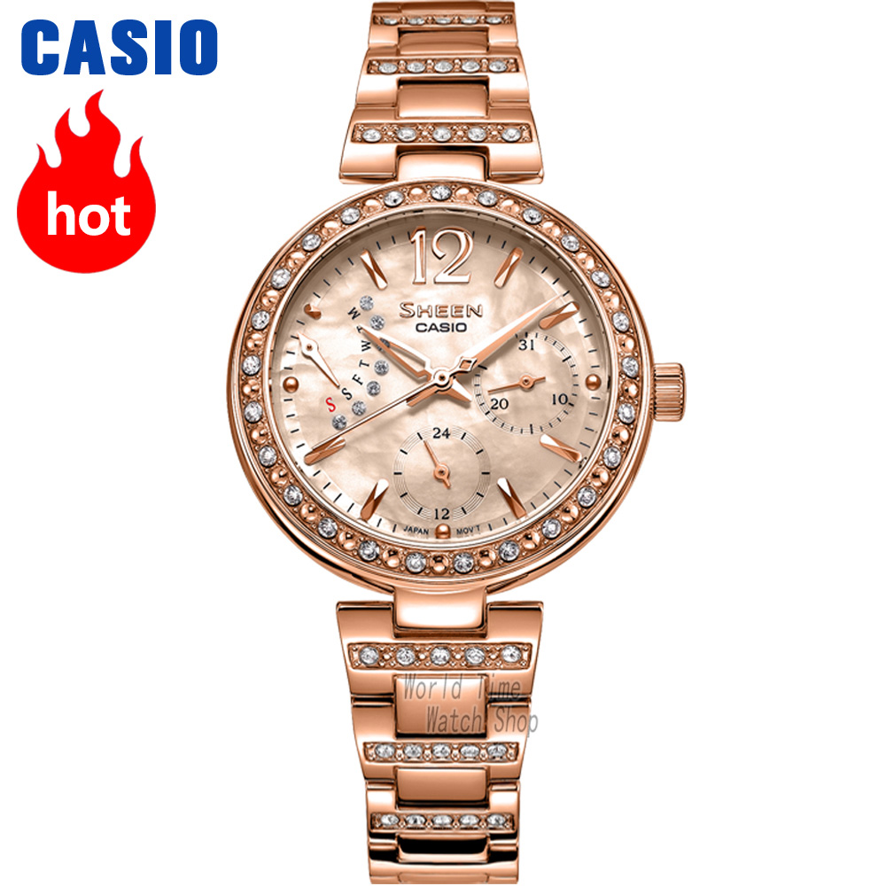 Casio watch Ladies watch fashion rhinestone quartz watch SHE-3043SG-7A SHE-3043PG-9A SHE-3043PG-7A SHE-3043D-7A SHE-3043SPG-7B casio watch casual business waterproof quartz ladies watch shn 4019dp 4a shn 4019dp 7a shn 4019lp 7a