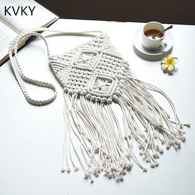 KVKY 2018 Bohemian Fashion Beach Knitted Tassel Shoulder Bag Bolsa Feminina Women Casual Crochet Fringe Crossbody Messenger Bags