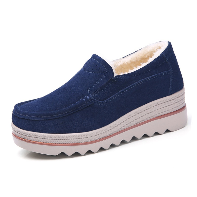 2019 Spring women flats shoes platform sneakers shoes   leather     suede   casual shoes slip on flats heels creepers moccasins35-42