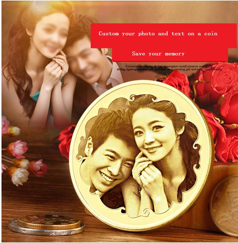 Free Shipping 1pc brass custom picture birthday Graduation gift couple Valentine's Day present Commemorative coin golden