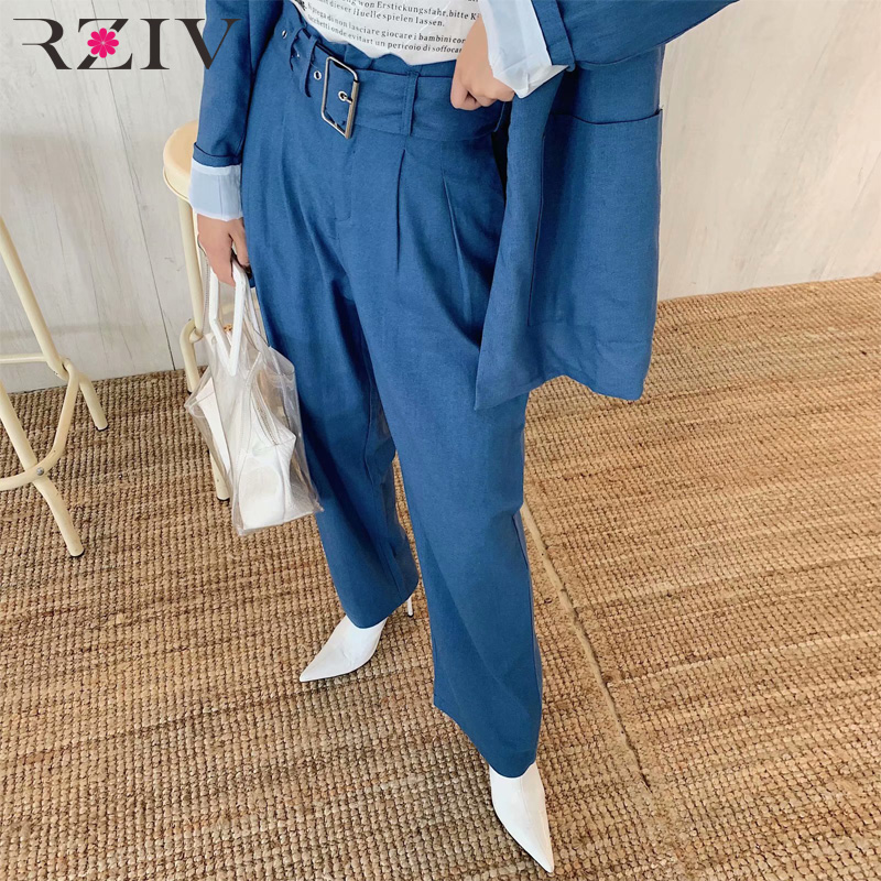 RZIV Spring women's trousers casual solid color pleated loose suit pants