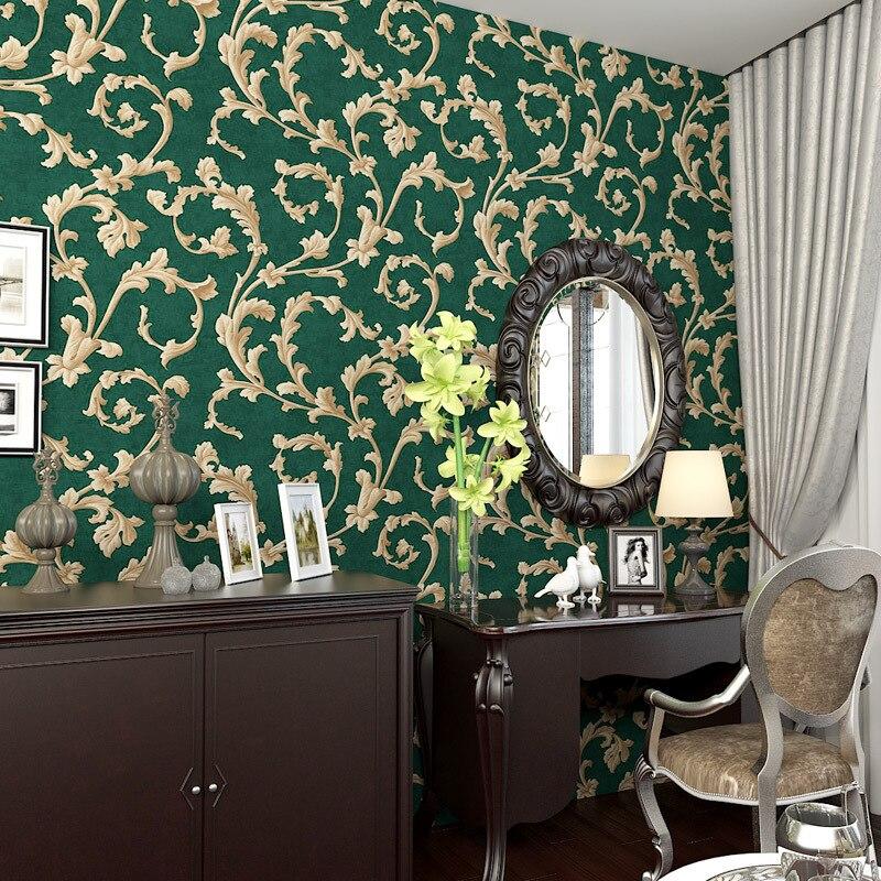 beibehang American Rural Non-woven Wallpaper Bedroom Living Room TV Emerald Green Background Wallpaper Retro Cottage Leaves
