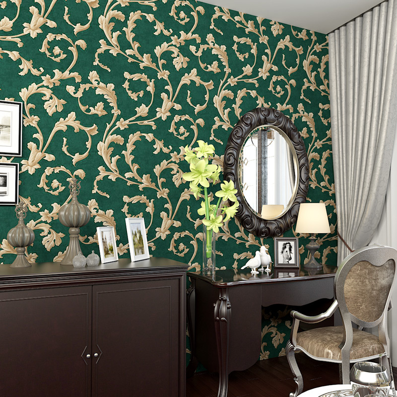 beibehang American Rural Non-woven Wallpaper Bedroom Living Room TV Emerald Green Backgr ...