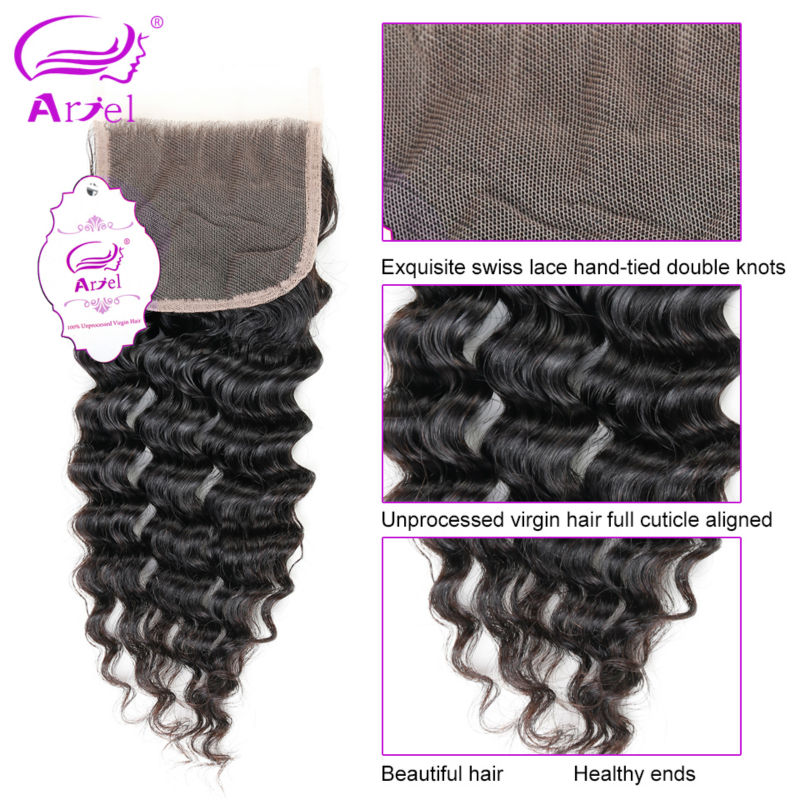 Deep Wave Bundles With Closure 30 Inch Bundles Brazilian Hair Weave Bundles Non Remy Human Hair Extension 4 Bundles With Closure-in 3/4 Bundles with Closure from Hair Extensions & Wigs    3