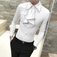 2019 New Fashion Male autumn slim Leisure pure cotton Dress shirt/Men's trend High quality long sleeve shirts Plus size S-3XL Tuxedo Shirts