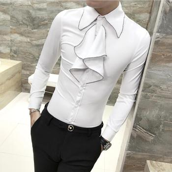 2019 New Fashion Male autumn slim Leisure pure cotton Dress shirt/Men's trend High quality long sleeve shirts Plus size S-3XL Tuxedo Shirts