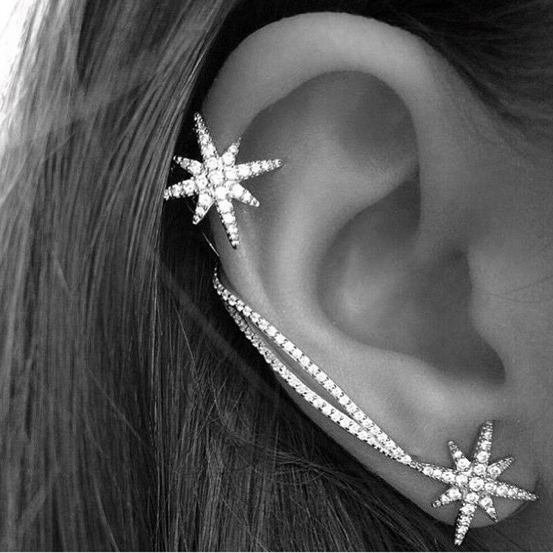 Flor de neve clip on brincos moda jóias ear cuff mulheres brincos da orelha envoltório jaqueta earcuff brincos