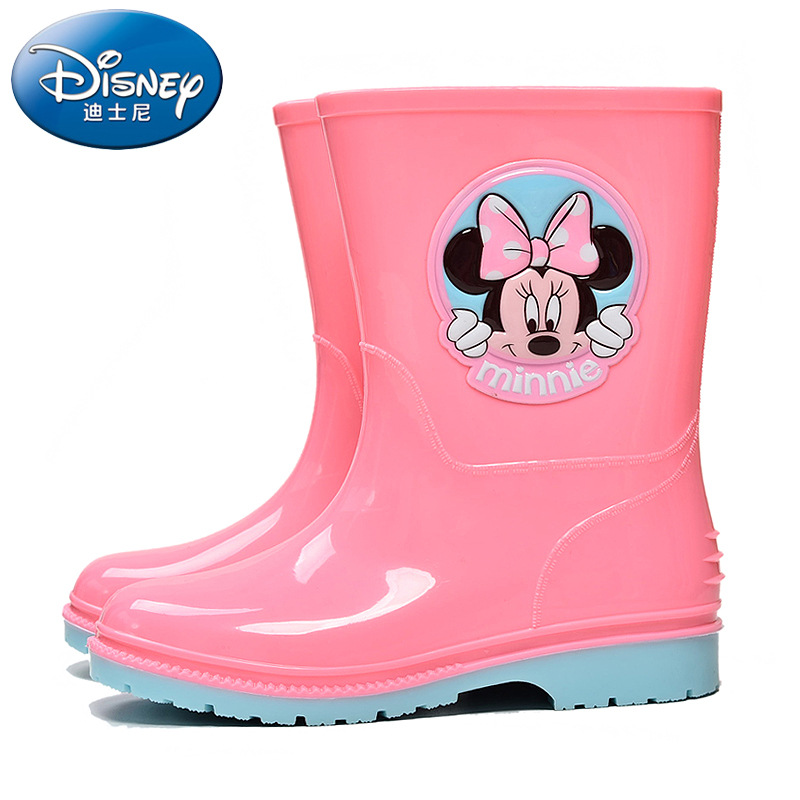 Disney children's rain boots boys mickey mouse water shoes girls Minnie rain boots baby Mickey non-slip rubber shoes EU 24-34