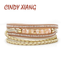 CINDY XIANG New Arrival Twisted Leather Rope Chain Bracelets For Women Crystal Beads Cuff Bangles Summer Beige Color Good Gift