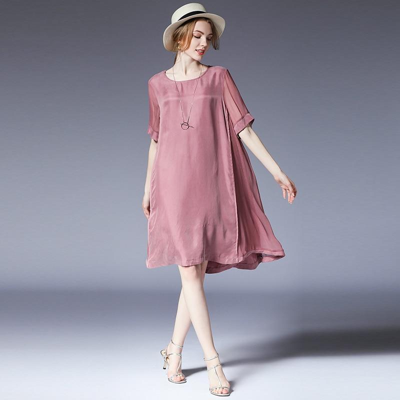 Plus size dresses women casual loose fashion Elegant dress light mature woman High waist short sleeve