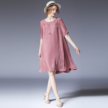 Plus size casual loose Elegant light mature woman High waist short sleeve  dress. US  36.49   piece Free Shipping 72fd37e9f3b7