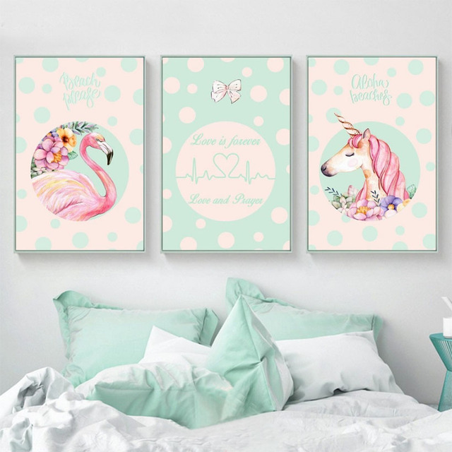 Modern Nordic Art Unicorn And Flamingo Decorative Pictures For Living Room  Pink Baby Nursery Bedroom Wall