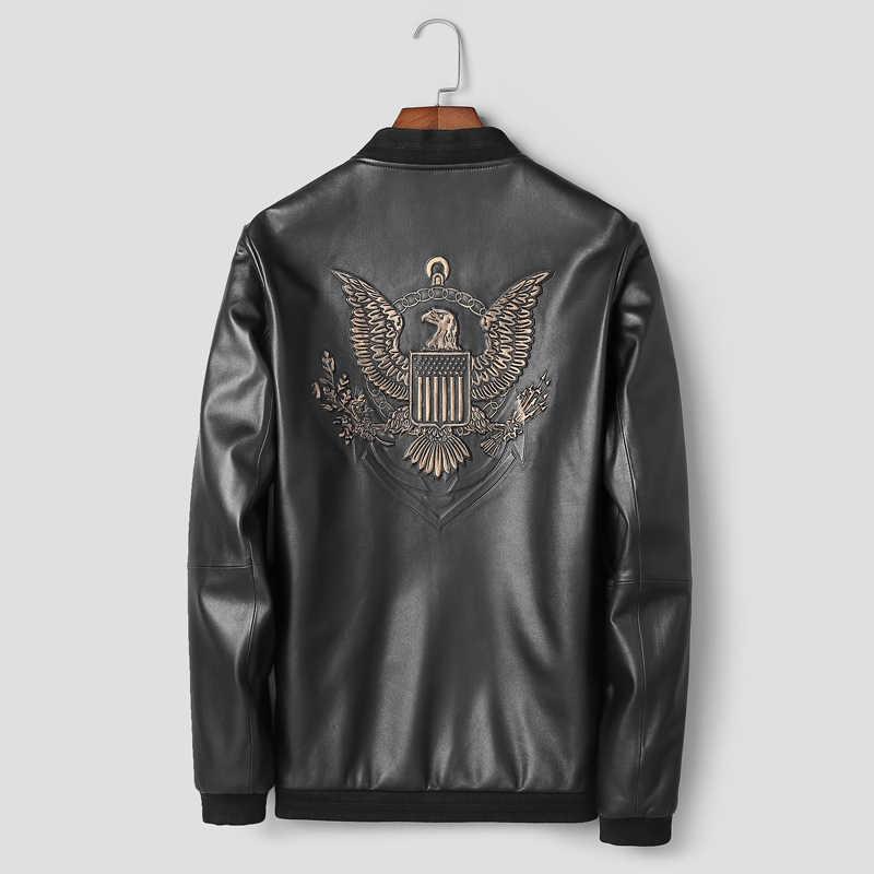 Роскошная брендовая новая стильная кожаная куртка Натуральная овечья кожа куртки мужские осенние куртки-бомберы кожаные мужские кожаные пальто