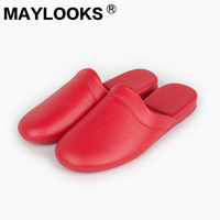 Ladies Leather Handmade PU Leather Slippers Warm Candy Colors Indoor Slippers Home Ladies Slippers N 198