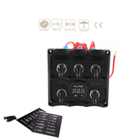 12V 24V LED Marine Boat Car Toggle Switch Panel Switches Yacht RV Cockpit Control Switch With Digital Voltmeter Refit Accessory