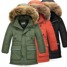-35 Children's duck down jackets New winter boys long sections thickening  coats kids boy fashion fur collar more warm jacket