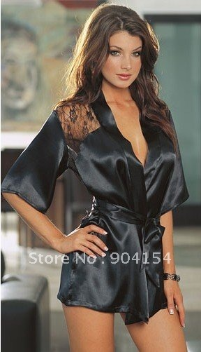 drop shipping Sexy Lingerie Black Satin Sleepwear Lace Detail Robe and G-String + Free Shipping
