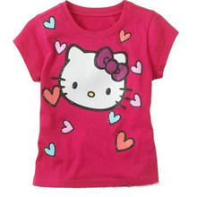 Kt красная роза hello kitty cat розничная летом майка девочка футболка