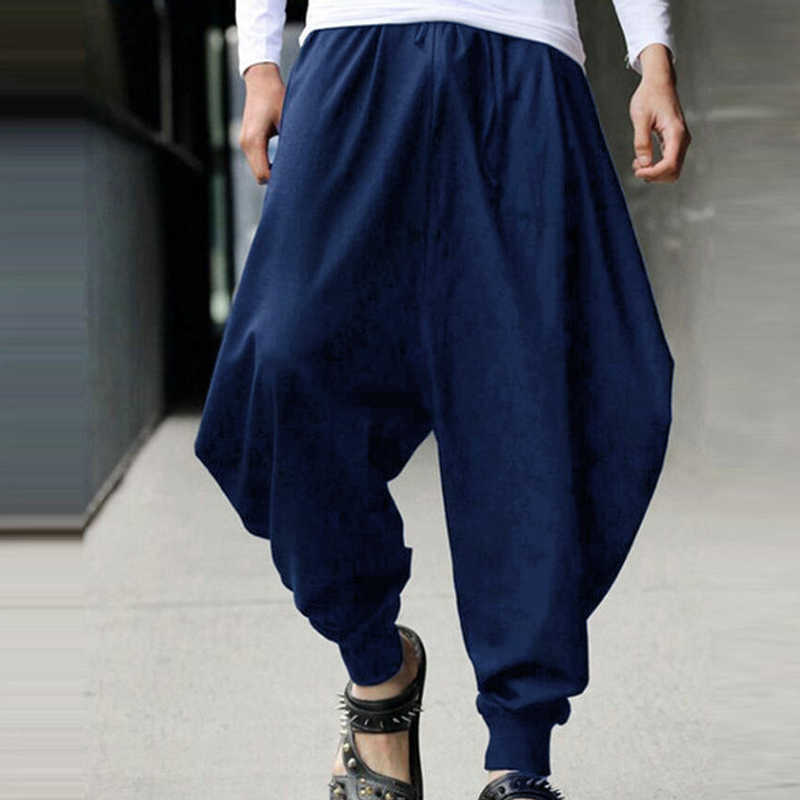 a2b6240b691 Male Summer Autumn Harem Loose Long Pants Man Japanese Samurai Style  Cropped Linen Trousers Low Drop
