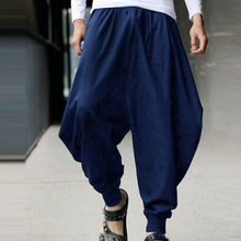 Male Summer Autumn Harem Loose Long Pants Man Japanese Samurai Style Cropped Linen Trousers Low Drop Crotch Wide-Leg