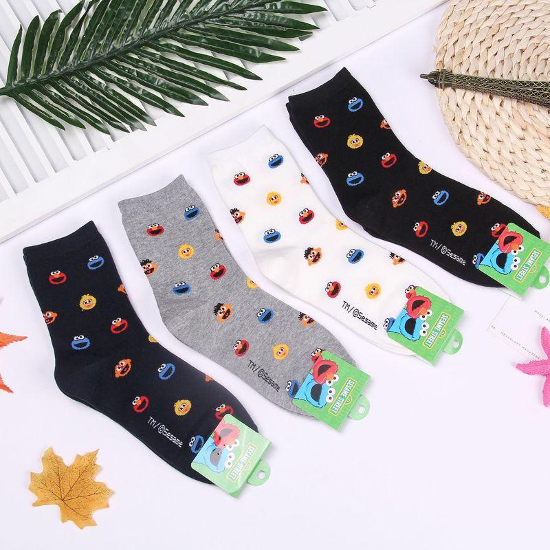 Us 2 62 41 Off Cartoon Sesame Street Print Socks Elmo Big Bird Cookie Monster Cute Funny Korean Women Autumn Winter Comfort Black Cotton Sock In