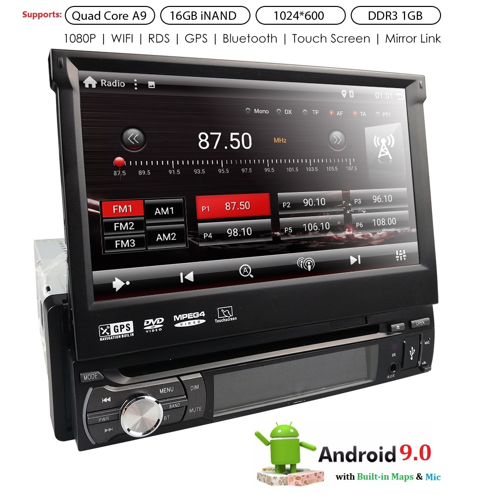 <font><b>1din</b></font> Car Radio <font><b>Android</b></font> multimedia player <font><b>Autoradio</b></font> 1 Din 7'' Touch screen GPS Bluetooth FM WIFI auto audio player stereo mic dab image