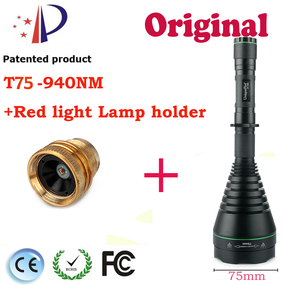 UF-1508 T75 Infrared Flashlight IR940mm Led Flashlight 3 Modes Torch with a XRE Red Light Lamp Holder f.18650 Battery Lantern alonefire 3aa 395nm uv ultra violet blacklight 8w 51 led flashlight torch lamp light with aa battery powered