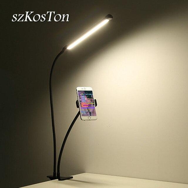Desktop Mounts Mobile Phone Holder Stands With LED Selfie Light Flash Lamp Photo Studio Light Phone Holder for Video Makeup Live