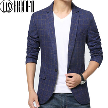 Hot Sale High Quality Men Spring Autumn Casual Wear Male Blazers Full Sleeve Large Size Coat Single Breasted tartan Tops