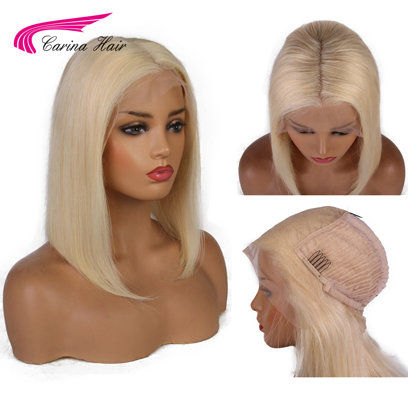 Carina 13x6 Short Bob Wig Preplucked Remy Hair Lace Front Human Hair Wigs Brazilian Honey Blonde Ombre Lace Front Bob Wigs