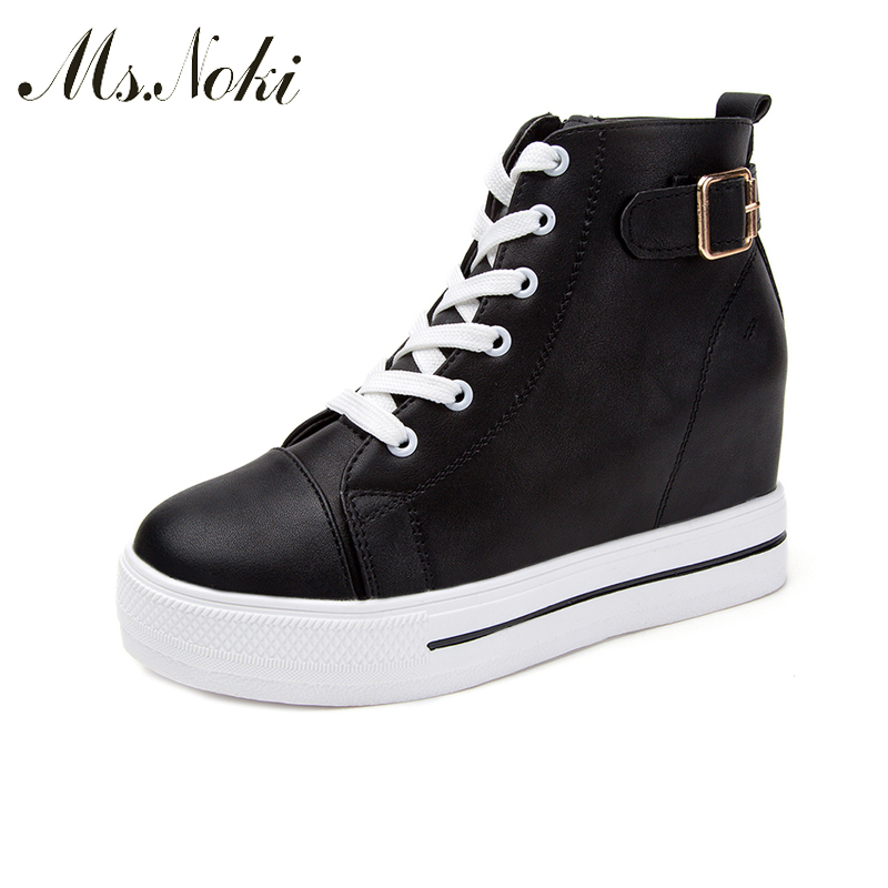 Ms.Noki Women Fashion Platform Casual Shoes Good Quality Low Top Lace-up Increasing Ladies White Black shoes Buckle strap shoes 2016 new vintage women casual shoes fashion good pu leather breathable lace up low platform women shoes xwc344