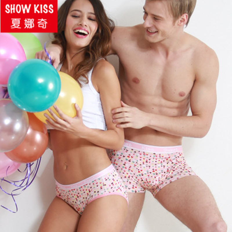 2017 New Couple underwear women panties men boxer shorts lovely pink love heart underpants for couple