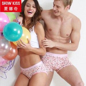 Nowa para bielizna damska majtki męskie bokserki śliczny różowy love heart kalesony dla pary
