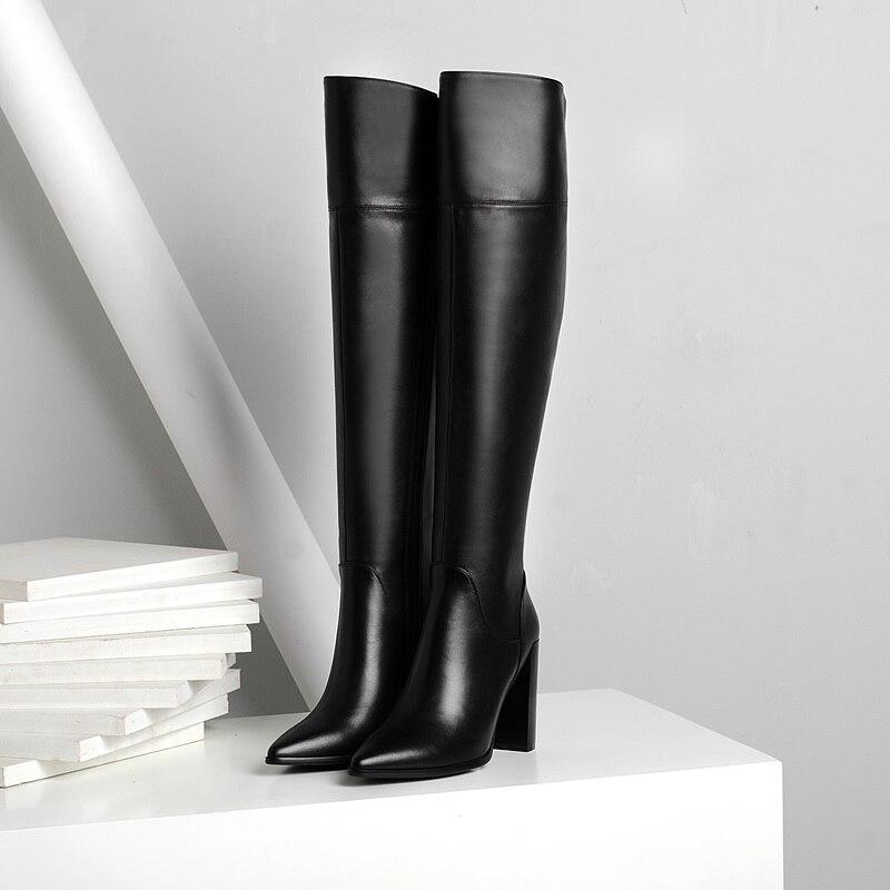 Talons Haute Femme Le Bottes Chaussures Genou Bout Femmes Cuir En D'équitation Black Zipper S Facndinll Noir Hauts; Pointu Sur Beige À Nouvelles Véritable zxYx8Pw