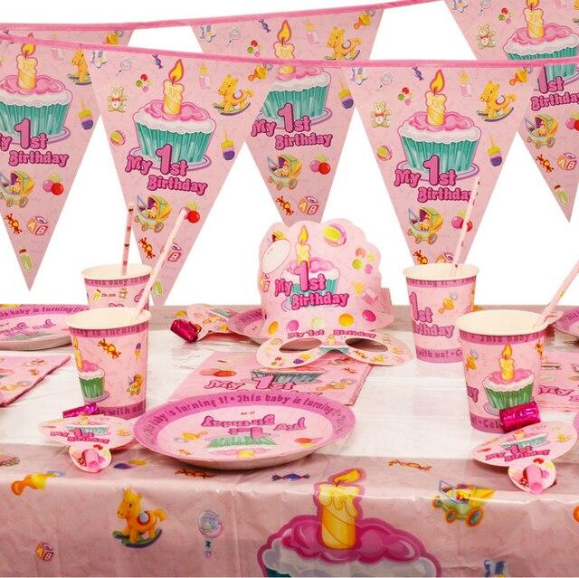 17 styles Childrenu0027s Day Birthday party supplies pink My 1st Birthday theme base party paper tableware  sc 1 st  AliExpress.com & 17 styles Childrenu0027s Day Birthday party supplies pink My 1st ...
