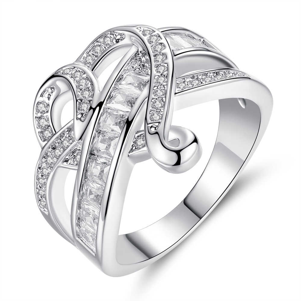 Fashion Rings For Women Wedding Engagement Two Lines Inlaid With Cubic Zirconia Cross Through Heart-shaped Jewelry Gifts