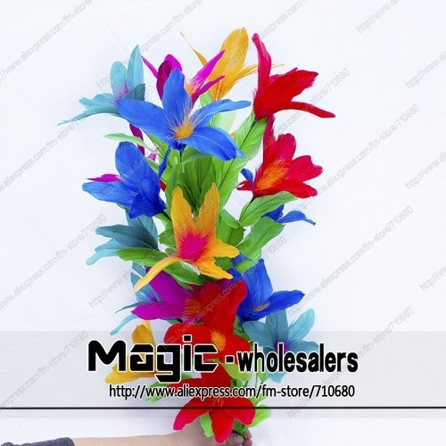 Free shippping Steel Magic Vanishing cane to Flower (19 flower) cane to flower wand and bouquet magic tricks